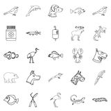 Sick animal icons set, outline style. Sick animal icons set. Outline set of 25 sick animal vector icons for web isolated on white background Stock Images
