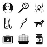 Sick animal icons set, simple style. Sick animal icons set. Simple set of 9 sick animal vector icons for web isolated on white background Royalty Free Stock Images