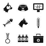 Sick animal icons set, simple style. Sick animal icons set. Simple set of 9 sick animal vector icons for web isolated on white background Stock Image