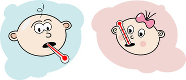 Sick baby. Cartoon illustration of a with a thermometer in his mouth Stock Photos