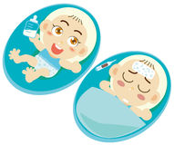Sick baby boys. In small beds Royalty Free Stock Images