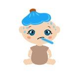Sick baby stock illustration