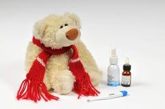 Sick bear. And vitamins. virus stock photo