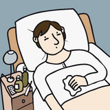 Sick bed. Sick man lying in bed Royalty Free Stock Photo