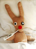 Sick in bed with a temperature. Humorous image of soft toy in bed with thermometer in mouth Stock Photos