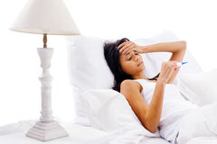 Sick bed woman Stock Photo