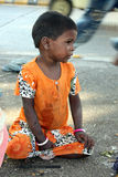 Sick Beggar Girl Stock Image