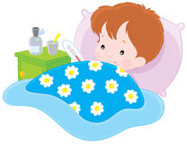 Sick boy. Vector clip-art illustration of a sick boy lying with a thermometer in a bed vector illustration