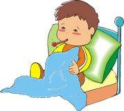 Sick boy. With thermometer lying on a bed with duvet vector illustration