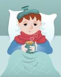 Sick boy. Sick little boy lies and drinks hot drink. Cartoon illustration Royalty Free Stock Photo
