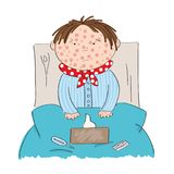 Sick boy with chickenpox, measles, rubeola or skin rash. Sitting in the bed with medicine, thermometer and paper handkerchiefs on the blanket - original hand Royalty Free Stock Photos
