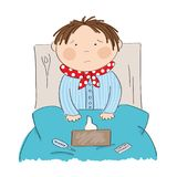 Sick boy with flu sitting in the bed. With medicine, thermometer and paper handkerchiefs on the blanket - original hand drawn illustration Stock Photos