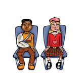 Sick Boy and girl. Cartoon illustration of a sick boy and girl Stock Image