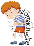 Sick boy having stomachache Royalty Free Stock Images