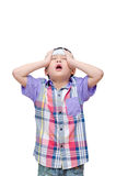 Sick boy with headache Royalty Free Stock Images