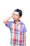 Sick boy with headache Stock Images