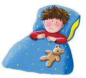 Sick boy lying in bed. Acrylic illustration of the sick boy lying in bed stock illustration