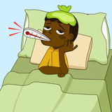 Sick boy lying on the bed. Sick African American boy lying on the bed Royalty Free Stock Image