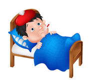 Sick boy lying in bed Stock Photo