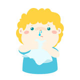 Sick boy runny nose . Royalty Free Stock Photo