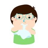 Sick boy runny nose . Royalty Free Stock Photos