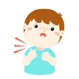 Sick boy sore throat cartoon . Sick boy sore throat cartoon  illustration Stock Photos