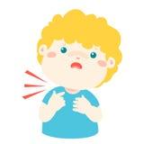 Sick boy sore throat cartoon . Stock Photos