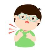 Sick boy sore throat cartoon . Royalty Free Stock Photos
