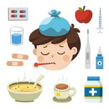 Sick Boy with thermometer in his mouth. Bad feeling. And Icon set of cold, sick vector illustration