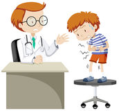 Sick boy visiting doctor. Illustration Stock Photo