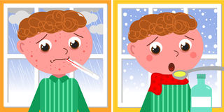 Sick boy in winter Stock Photos