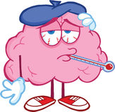 Sick Brain Character With Thermometer Royalty Free Stock Photo