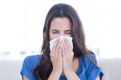 Sick brunette blowing her nose Stock Photos