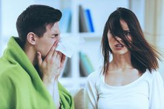 Free Sick Brunette Male At Cute Shocked Girl. Stock Image - 123663851