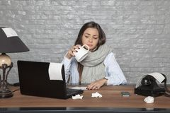 Sick business woman has nothing to drink. Portrait of a business person Stock Images