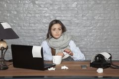 Sick business woman, sitting still in office. Portrait of a business person Stock Images