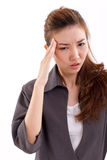 Sick business woman suffers from headache pain, migraine Royalty Free Stock Image