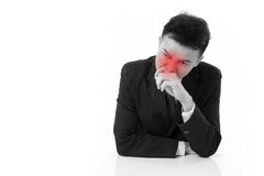 Sick businessman suffering runny nose Royalty Free Stock Images