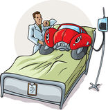 Sick Car. Drawing of a sick car in a hospital stock illustration