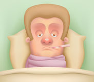 Sick Cartoon Character. Cute Sick Cartoon Character with thermometer Royalty Free Stock Photo