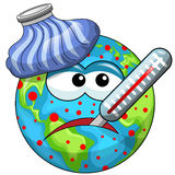 Sick cartoon earth. With thermometer and ice bag Stock Photography