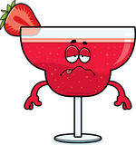 Sick Cartoon Strawberry Daiquiri Royalty Free Stock Image