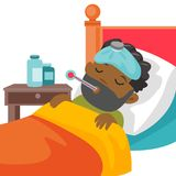 Young sick caucasain white boy laying in bed. Sick caucasain white boy with fever laying in bed and measuring temperature with a thermometer. Sick patient Royalty Free Stock Photos