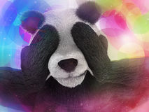 Sick character panda bamboo junkie experiencing strong hallucinations and fear closes the muzzle paws. Psychedelic condition of th Royalty Free Stock Images