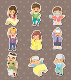 Sick Character stickers. Cartoon vector illustration Stock Photography