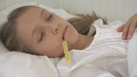 Sick Child in Bed, Ill Kid with Thermometer, Girl in Hospital, Pills Medicine stock image