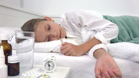 Sick Child in Bed, Ill Kid with Thermometer, Suffering Girl, Pills Medicine.  stock video