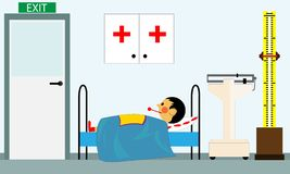 Sick child at the doctors office in the medical center stock illustration
