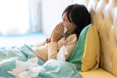 Free Sick Child Girl Have A Cold,blowing Nose In Paper Handkerchief In Bedroom,flu Or The Weather Is Changing,asian Female Teenage Royalty Free Stock Image - 168774816