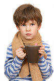 The sick child holds a cup Royalty Free Stock Photo